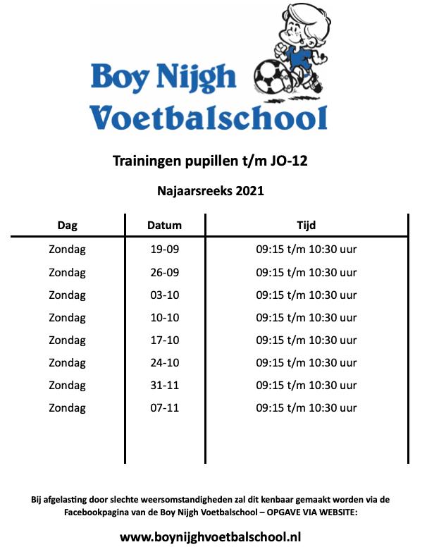 Schema Boy Nijgh Voetbalschool Najaarsreeks 2021